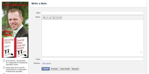 blog notes2 Blog posts in your Facebook page via notes