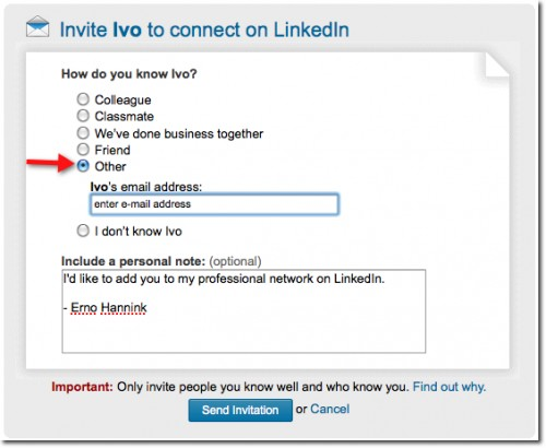 LinkedIn add contact