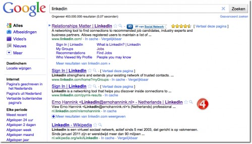 LinkedIn profile in Google