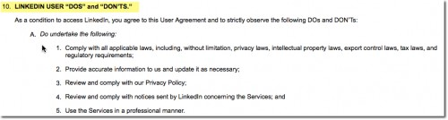 LinkedIn user agreement