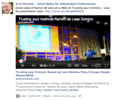 YouTube Video ready to be viewed directly on your Facebook page