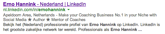 LinkedIn profile in search results